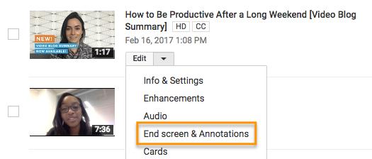 """Pantalla final de YouTube llamada a la acción. """"width ="""" 525 """"style ="""" margin-left: auto; margin-right: auto; width: 525px """"title ="""" Llamada a la acción de la pantalla final de YouTube. """"> </p> <p> A partir de ahí, llevado al estudio de creador de la pantalla final, donde puede jugar con diferentes plantillas y fondos para determinar cómo desea que aparezca su pantalla final. Luego, haga clic en el menú """"Agregar elemento"""" para decidir dónde desea enviar a los espectadores desde la pantalla final . </p> <p> <img loading="""