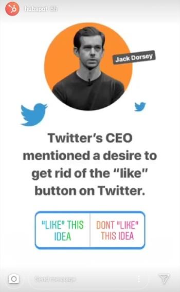 Instagram Story by HubSpot noticias de última hora sobre el CEO de Twitter, Jack Dorsey, con una etiqueta de votación