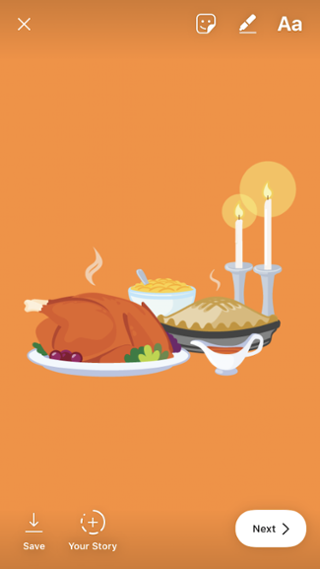 Pegatina de Acción de Gracias en una historia de Instagram