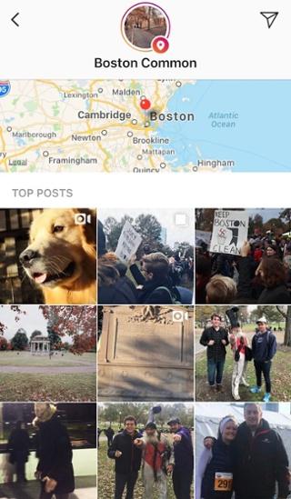 Instagram Stories publicado con la ubicación Boston Common
