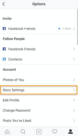 """Botón de configuración de la historia en Instagram"""" width = """"320"""" style = """"width: 320px; margen izquierdo: auto; margin-right: auto"""