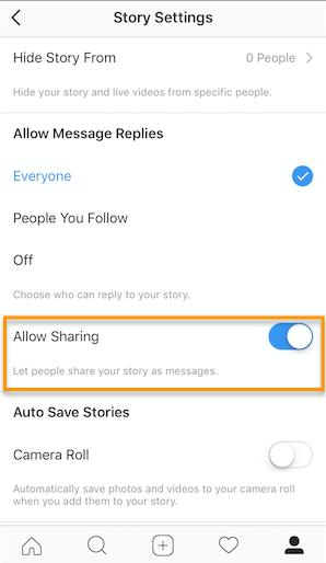 Permitir compartir opción en Instagram
