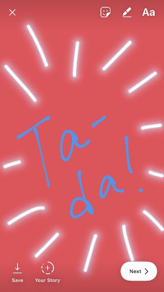"""El dibujo de la historia de Instagram dice """"Ta-da"""" ! """" con una pluma azul y fondo rojo"""