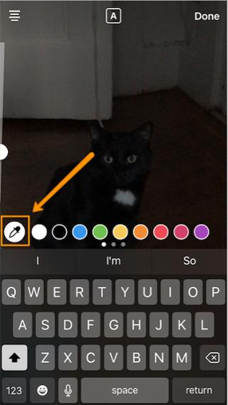 """Ícono de cuentagotas para cambiar color personalizado del texto de Instagram Story """"width ="""" 320 """"style ="""" margin-left: auto; margin-right: auto; width: 320px"""