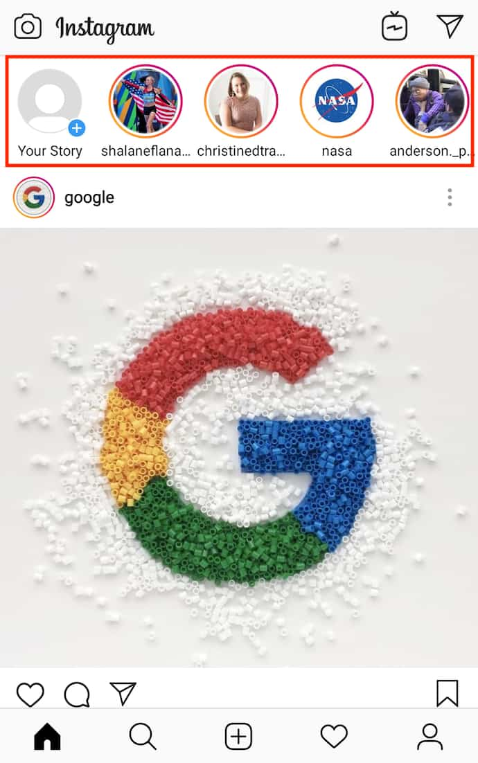 Pantalla de inicio de Instagram con el logotipo de Google y una serie de Historias de Instagram para ver en la parte superior