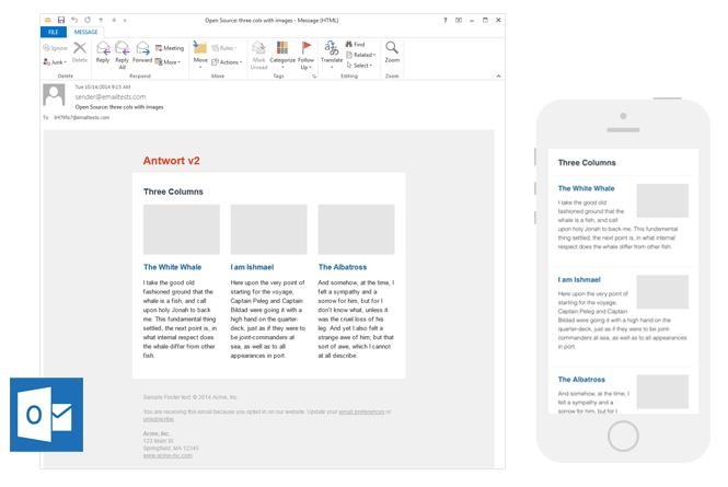 """Plantillas de boletín informativo por correo electrónico de Antwort """"title ="""" Antwort Plantillas de boletín de correo electrónico"""